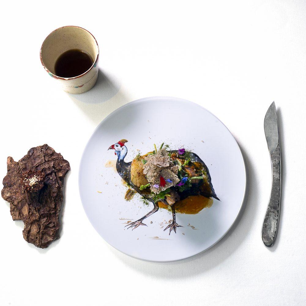 """""""faraona e cappasanta"""" ristorante """"Tokuyoshi"""" chef Yoji Tokuyoshi 1 micheln star"""